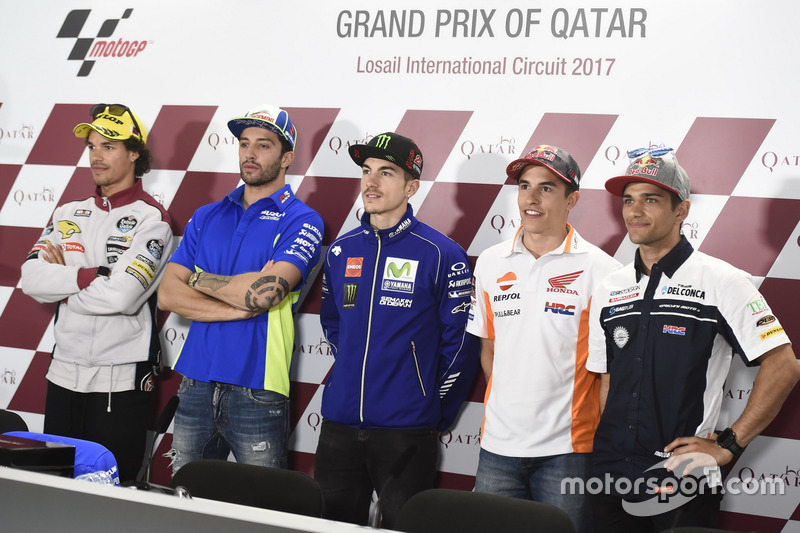 Franco Morbidelli, Moto2-Polesitter; Andrea Iannone, Team Suzuki MotoGP; Maverick Viñales, Yamaha Fa