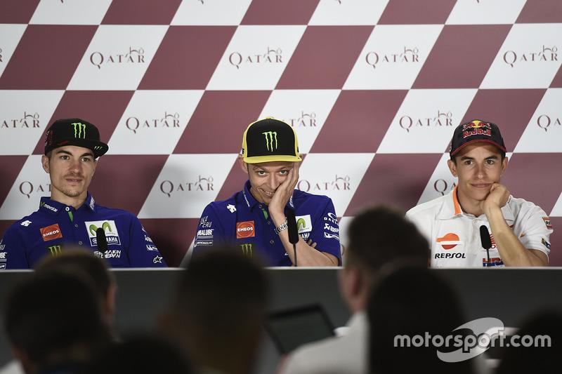 Valentino Rossi, Yamaha Factory Racing; Maverick Vinales, Yamaha Factory Racing; Marc Marquez, Repsol Honda Team