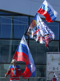 Russian fan and flags