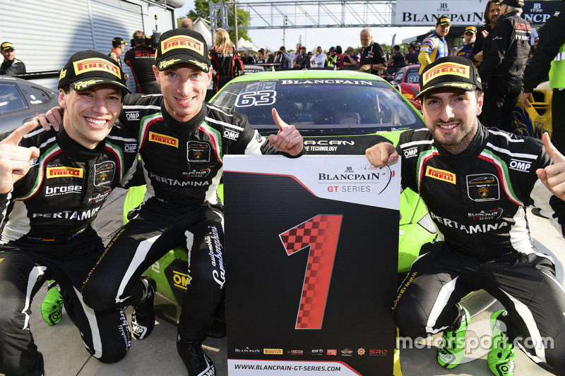 Race winners #63 GRT Grasser Racing Team, Lamborghini Huracan GT3: Mirko Bortolotti, Christian Engelhart, Andrea Caldarelli