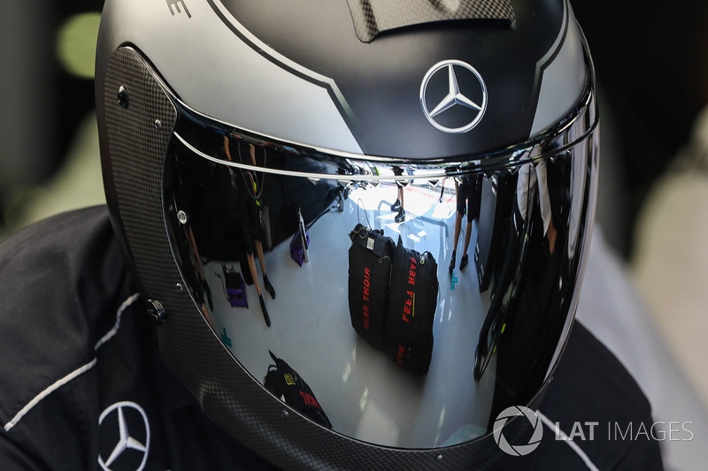 Mercedes AMG F1 and helmet reflection