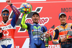 Podium: second place Danilo Petrucci, Pramac Racing, Race winner Valentino Rossi, Yamaha Factory Racing, third place Marc Marquez, Repsol Honda Team