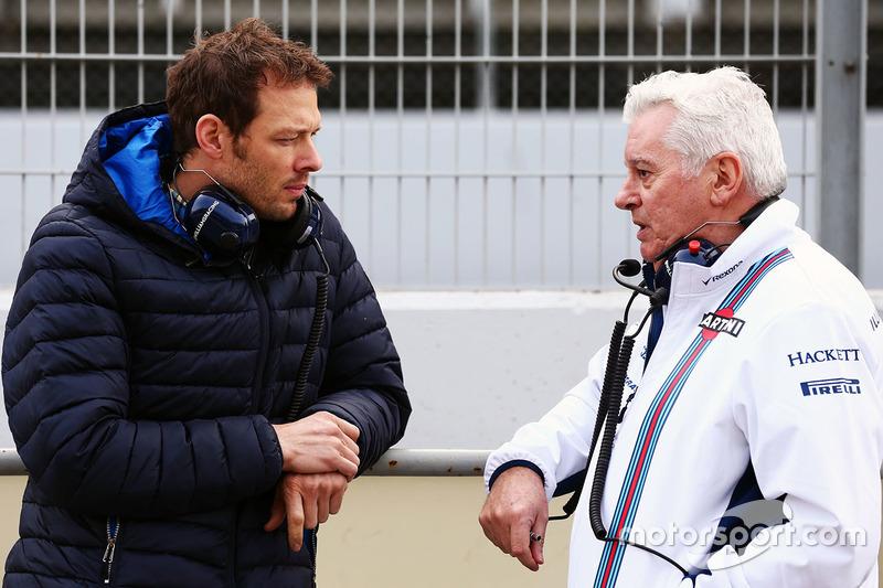 Alex Wurz, Williams piloto, Mentor y Presidente de la GPDA con Pat Symonds, director técnico de Williams