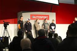 BTCC champion drivers Matt Neal, Andrew Jordan, Ashley Sutton, Gordon Shedden and Colin Turkington on the Autosport Stage