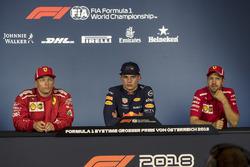 (L to R): Kimi Raikkonen, Ferrari, Max Verstappen, Red Bull Racing and Sebastian Vettel, Ferrari in the Press Conference