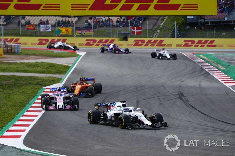 Лэнс Стролл, Williams FW41, Серхио Перес, Sahara Force India F1 VJM11, Стоффель Вандорн, McLaren MCL33, и Маркус Эрикссон, Alfa Romeo Sauber C37