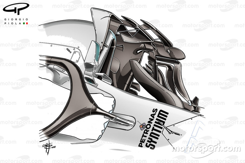 Mercedes F1 W09 turning vanes