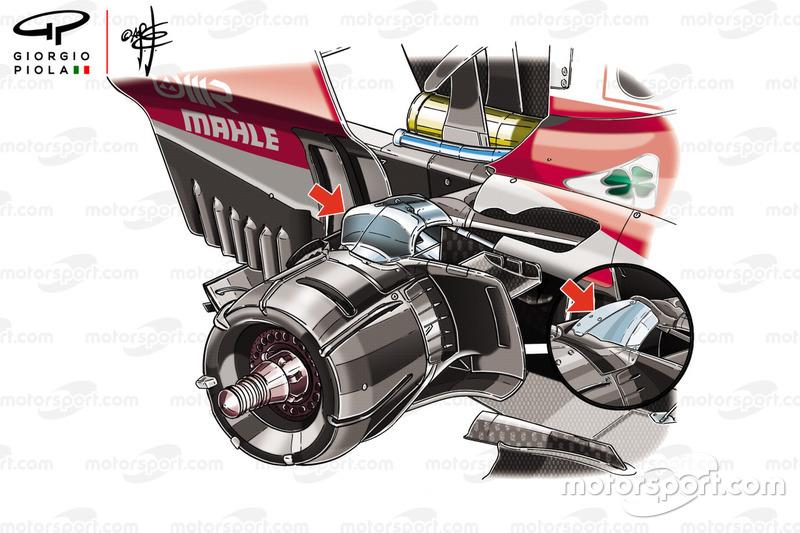 Comparaison des suspensions arrière de la Ferrari SF71H