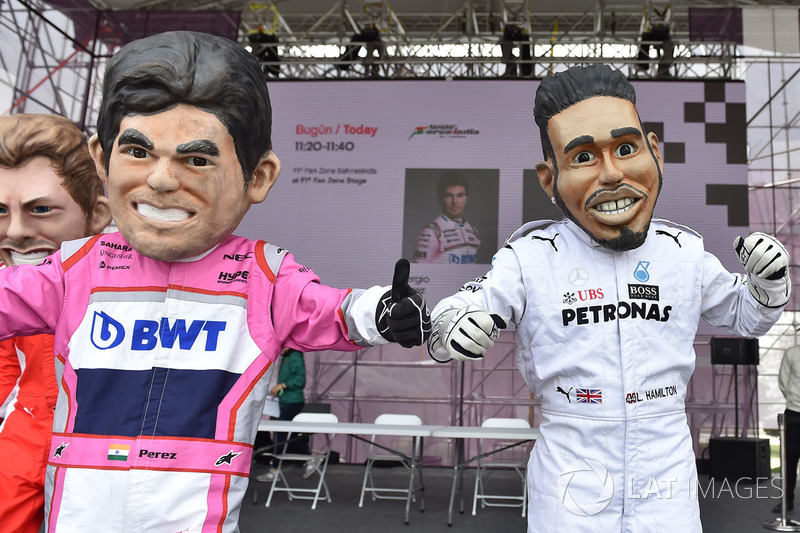 Karikatur Sergio Perez, Force India, Lewis Hamilton, Mercedes-AMG F1
