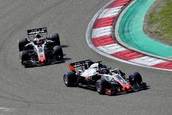 Romain Grosjean, Haas F1 Team VF-18 and Kevin Magnussen, Haas F1 Team VF-18