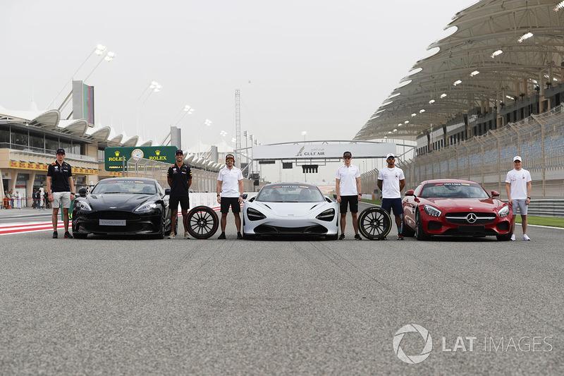 Макс Ферстаппен и Даниэль Риккардо, Red Bull Racing, Aston Martin Vanquish S, Фернандо Алонсо и Стоффель Вандорн, McLaren, McLaren 720s, Льюис Хэмилтон и Валттери Боттас, Mercedes AMG F1, Mercedes AMG GTR