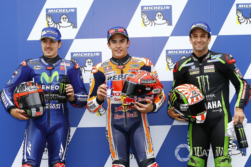 Pole sitter Marc Marquez, Repsol Honda Team, second place Maverick Viñales, Yamaha Factory Racing, t