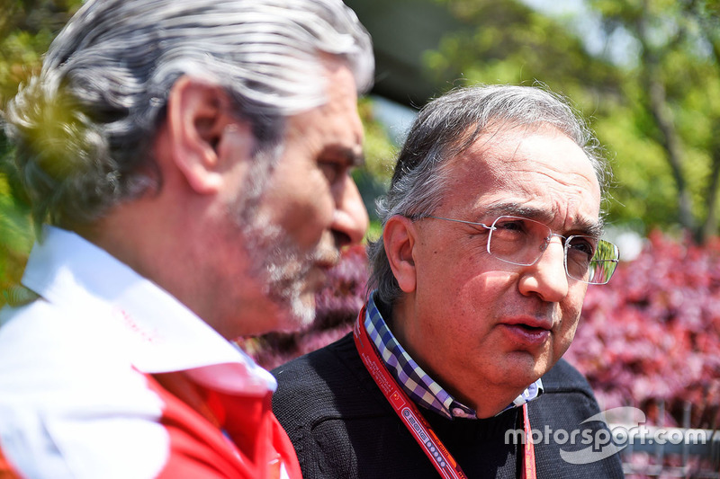 Sergio Marchionne, Ferrari President and CEO of Fiat Chrysler Automobiles and Maurizio Arrivabene, Ferrari Team Principal in the press conference