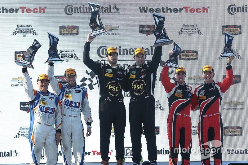 PC podium: Robert Alon, Tom Kimber-Smith, PR1 Mathiasen Motorsports, second place Jon Bennett, Colin Braun, CORE autosport, third place James French, Kyle Marcelli, Performance Tech Motorsports