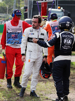 Fernando Alonso, McLaren after his race stopping crash