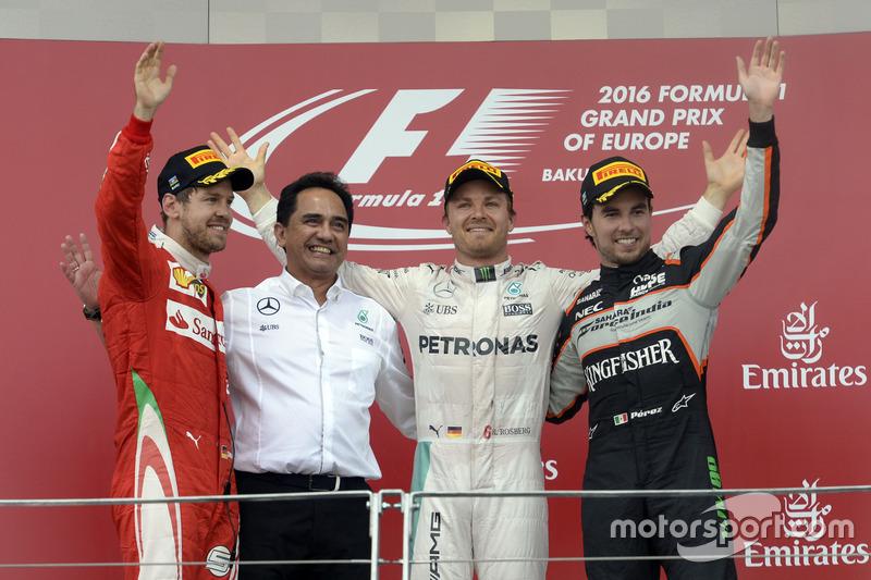 2016: 1. Nico Rosberg, 2. Sebastian Vettel, 3. Sergio Perez