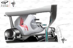 Mercedes AMG F1 W09, specchietto visto dalla parte posteriore della monoposto