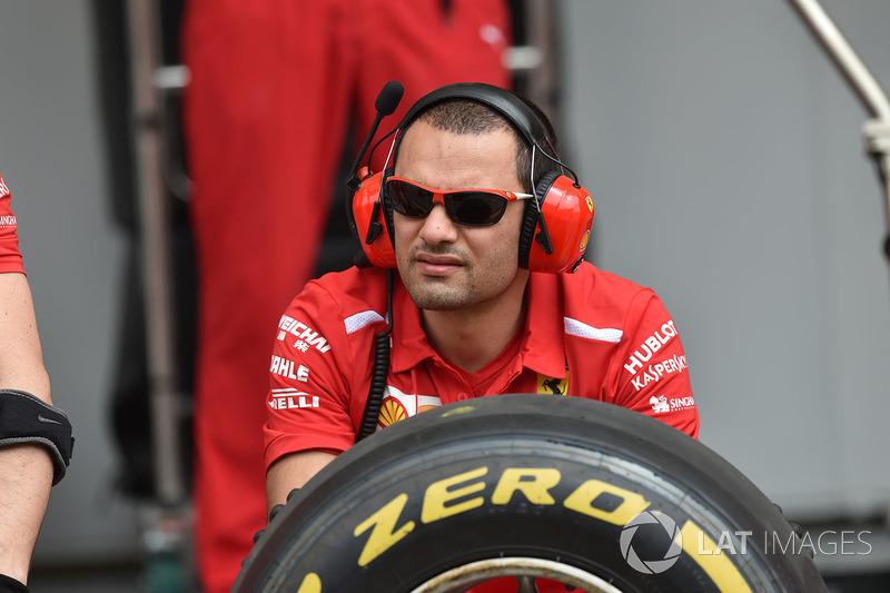 Ferrari mechanic and Pirelli tyre