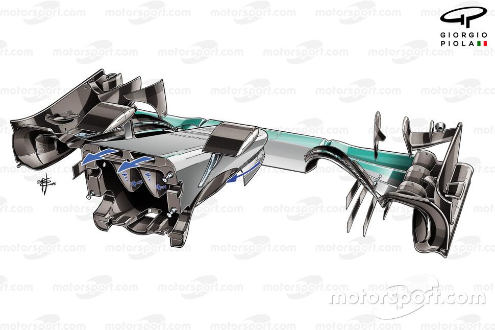 Parte interna del morro del Mercedes F1 W08