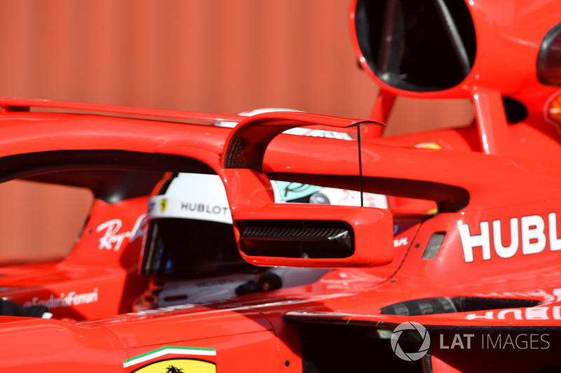 Sebastian Vettel, Ferrari SF71H with mirror mounted on halo