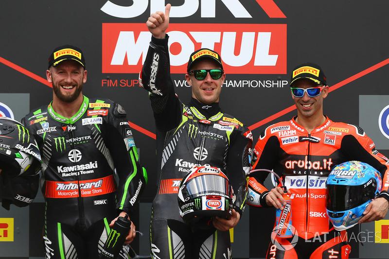 Podium: race winner Jonathan Rea, Kawasaki Racing, second place Tom Sykes, Kawasaki Racing, third place Marco Melandri, Aruba.it Racing-Ducati SBK Team