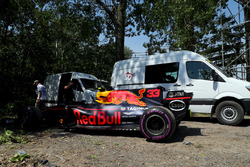 The car of race retiree Max Verstappen, Red Bull Racing RB13