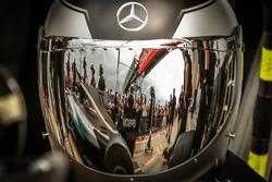 Mercedes AMG F1 mechanic and helmet visor