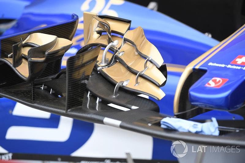Detalle del alerón delantero del Sauber C36
