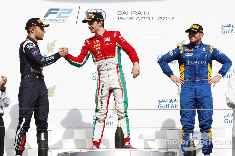 Podium: race winner Charles Leclerc, PREMA Racing, second place Luca Ghiotto, RUSSIAN TIME, third pl