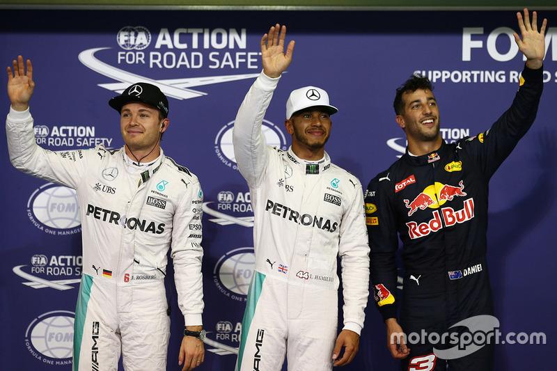 Polesitter: Lewis Hamilton, Mercedes AMG F1, second place Nico Rosberg, Mercedes AMG F1, third place Daniel   Ricciardo, Red Bull Racing