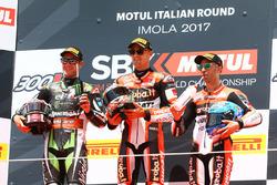 Podium: race winner Chaz Davies, Ducati Team, second place Jonathan Rea, Kawasaki Racing, third place Marco Melandri, Ducati Team