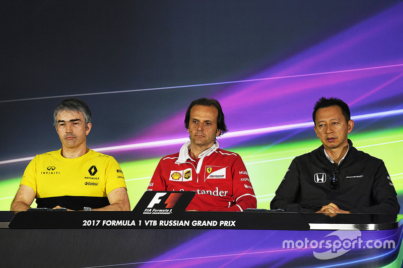 Nick Chester, Renault Sport F1 Team Technical Director, Luigi Fraboni, Ferrari Head of Engine Trackside Operations and Yusuke Hasegawa, Head of Honda Motorsport in the Press Conference
