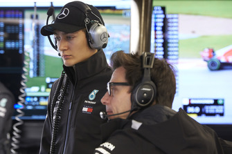 George Russell, Mercedes, and Toto Wolff, Executive Director (Business), Mercedes AMG