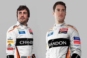 Fernando Alonso, McLaren, und Stoffel Vandoorne, McLaren, mit Logos von Coca-Cola am Overall