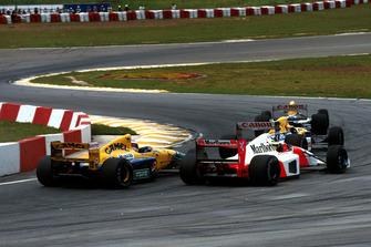 Riccardo Patrese, Williams FW14B, Nigel Mansell, Williams FW14B, Ayrton Senna, McLaren MP4/7A, Michael Schumacher, Benetton B191B