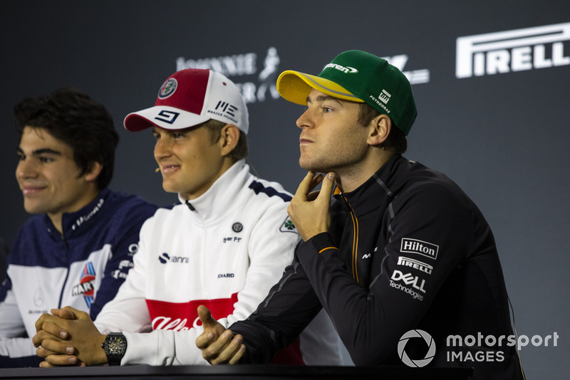 Lance Stroll, Williams Racing, Marcus Ericsson, Sauber and Stoffel Vandoorne, McLaren in the press conference