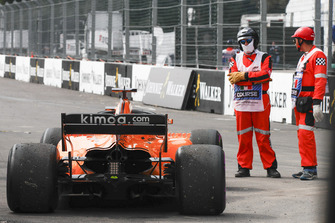 Car of Fernando Alonso, McLaren MCL33 after retiring from the race