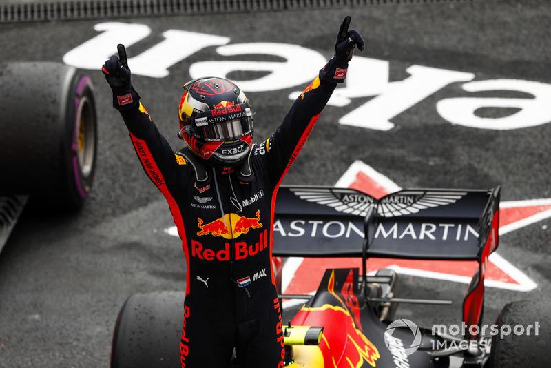 Max Verstappen, Red Bull Racing, celebra en Parc Ferme