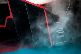 Smoke from the podium tunnel coming off the back of Jérôme d'Ambrosio car, Mahindra Racing, M5 Electro