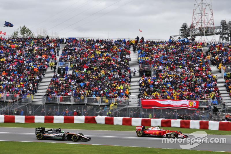 Кімі Райкконен, Ferrari SF16-H випереджає Ніко Хюлькенберга, Sahara Force India F1 VJM09
