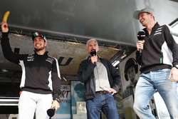 (L to R): Sergio Perez, Sahara Force India F1 with Damon Hill, Sky Sports Presenter and Nico Hulkenberg, Sahara Force India F1 at the Sahara Force India F1 Team Fan Zone at Woodlands Campsite