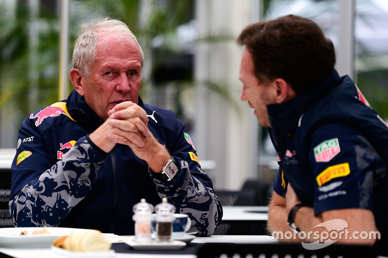 Dr Helmut Marko, Red Bull, Motorsportberater; Christian Horner, Red Bull Racing, Teamchef