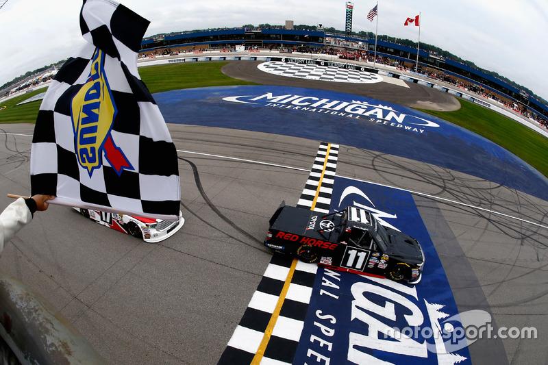 Brett Moffitt, Red Horse Racing Toyota takes the checkered flag