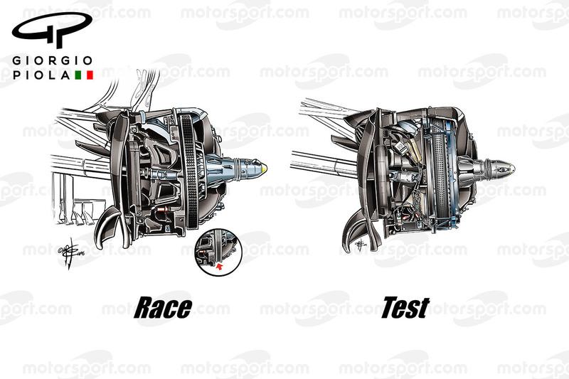 Mercedes W07 front brakes comparison, Brazilian GP