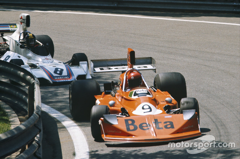 Vittorio Brambilla, March 751 Ford, leads Carlos Pace, Brabham BT44B Ford