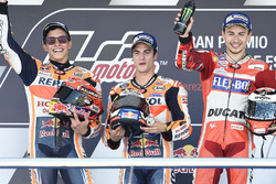 Podium: Race winner Dani Pedrosa, Repsol Honda Team, second place Marc Marquez, Repsol Honda Team, third place Jorge Lorenzo, Ducati Team