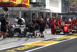 The Lewis Hamilton, Mercedes AMG F1, Sebastian Vettel, Ferrari, cars