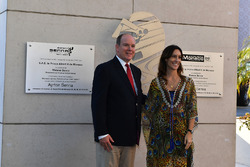 HSH Prince Albert of Monaco, and Bianca Senna, unveil a plaque at the Fairmont Hotel to commerate the 30th Anniversary of Ayrton Senna's win at the Monaco GP