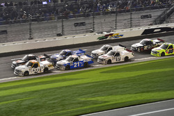 Spencer Gallagher, GMS Racing, Chevrolet; Christopher Bell, Kyle Busch Motorsports, Toyota; Johnny Sauter, GMS Racing, Chevrolet