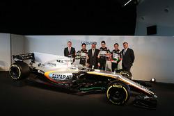 (L to R): Andrew Green, Sahara Force India F1 Team Technical Director; Sergio Perez, Sahara Force India F1; Dr. Vijay Mallya, Sahara Force India F1 Team Owner; Esteban Ocon, Sahara Force India F1 Team; Alfonso Celis Jr, Sahara Force India F1 Development Dr
